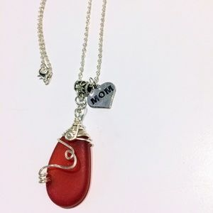 Red Sea glass wirewrapped pendant mom charm
